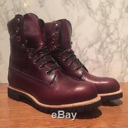 $500 Timberland Burgundy Horween Leather 8 Inch Boot Made In USA A1jxm648 Sz10