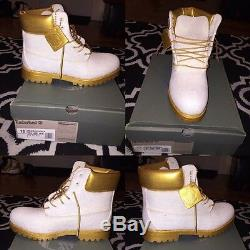 Hand Customized White Gold Timberland 6 inch Boot (Made by the order)