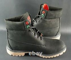 Limited Timberland 6 Inch Premium Patch Pack Waterproof Black Nubuck Boots OG DS