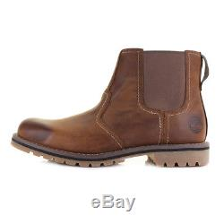 Mens Timberland Larchmont Chelsea Leather Brown Premium Ankle Boots Sz Size