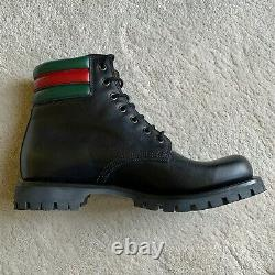 NIB authentic GUCCI Black Timberland WEB ANKLE BOOTS Size 7G 8 8.5 US