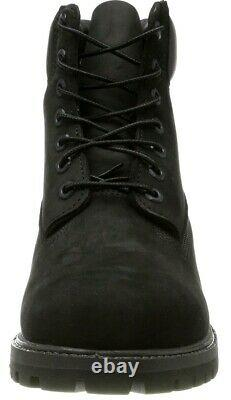 New Mens Timberland 6 Inch Premium Waterproof Leather Boots Black Size UK 9