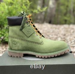 Rare Mens Timberland Premium 6 inch Classic Leather Boots Olive Green Size 11