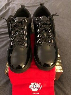 Supreme X Timberland, EXCLUSIVE Patent Black Leather Euro Hiker Low, Men, Size 9