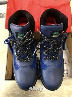 Supreme x Timberland Field Boot Blue Smooth Black RARE 12 Waterproof DEADSTOCK