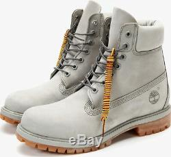 TIMBERLAND Men's Premium Leather Light Grey 6 Inch Waterproof Boots A1GAU 093