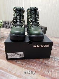 Timberland 6 Inch Green Leather Limited Edition Field Boots Size 10