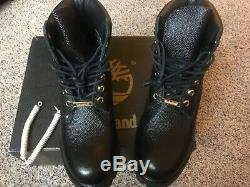 Timberland 6 Inch Premium Football Leather Boots (Size US Mens 8.5) Black Gold