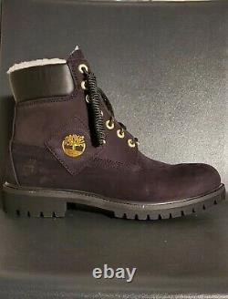 Timberland 6 Inch Premium Shearling Warm Lined Black Nubuck Boots A2957 Size 8