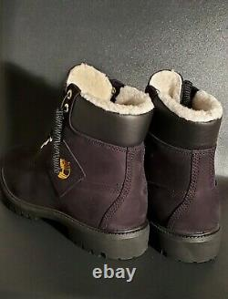Timberland 6 Inch Premium Shearling Warm Lined Black Nubuck Boots A2957 Size 9.5