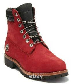 Timberland Exclusive Mens 6 Inch Heritage Boots Dark Red Nubuck Leather Size 13