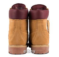 Timberland Mens 6 Inch Premium Waterproof Suede Wheat & Burgundy Boots A1HBC