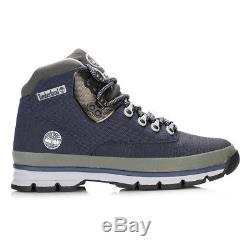 Timberland Mens Blue Hiker Jacquard Ankle Boots Lace Up Rubber Sole Shoes