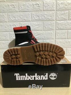 Timberland NBA Boots Chicago Bulls Red Black Logo Waterproof Mens 10.5 BRED Tan