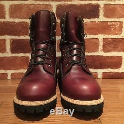 500 $ Timberland Bourgogne Horween Cuir 8 Pouces Boot Made In USA A1jxm648 Sz10