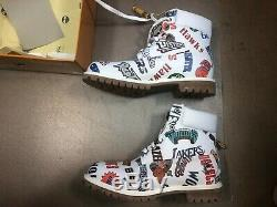 Bottes Timberland Premium 6 Pouces Nba Mitchell Ness Blanches Sz Us 10 Hommes