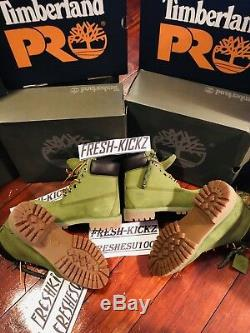 Rare Timberland Premium 6 Boots Classic Leather Leather Boots Olive Vert Taille 11