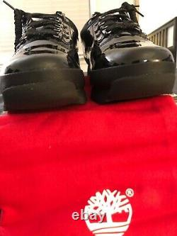 Supreme X Timberland, Exclusive Patent Black Leather Euro Hiker Low, Hommes, Taille 9
