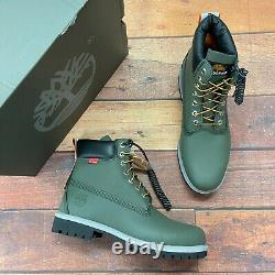 Timberland Homme Premium 6 Inch Helcor Leather Dark Green Boots A2nba
