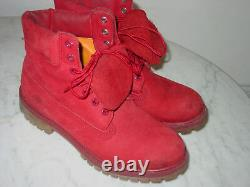 Timberland Leather Red Nubuck Premium Waterproof Limited Release Boots! Taille 8