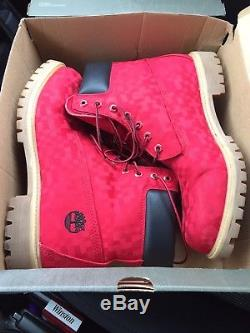 Timberland Mens 6 Inch Taille 11 Bottes Imperméables Red Edition Valentines Edition
